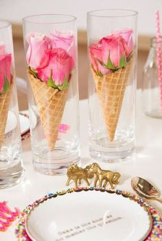 14 Lovely Centerpiece Ideas for Your Reception Table More, this one would be cute for an ice cream social! Summer Table Decorations, Decoration Table, Wedding Decorations, Centerpiece Ideas, Birthday Table Decorations, Rose Centerpieces, Marriage Decoration, Dinner Party Decorations, Homemade Decorations