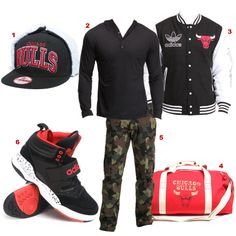 Representing the Chicago Bulls! Get the look!    1. Chicago Bulls Dog Ear Snapback Hat    2. Henley Striped Hoodie by Black Web    3. Varsity Jacket by Adidas    4. Canvas Duffle Bag by Mitchell & Ness    5. Straight Leg Cargo Pants by LRG    6. Hackmore Sneakers by Adidas