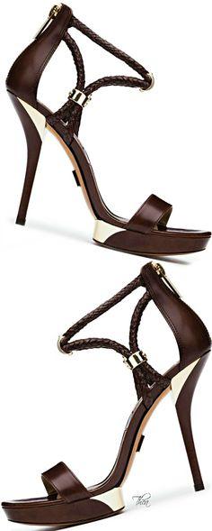 Michael Kors ~ Brown Leather Sandal Heels w Braided Ankle Strap Detail 2015