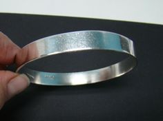 """SOLID 925 STERLING SILVER ROUND BANGLE 7.5"""" BRACELET .36"""" WIDE 22g MADE MEXICO #Bangle"""