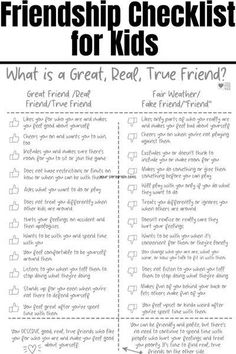Our kids need help and guidance when it comes to learning how to be a good friend. This activity from Coffee and Carpool will help them be kind to others and feel confident in their ability to treat others well. Help kids figure out who their great, true, real friends are with this friendship checklist they can use to decide for themselves. A good activity for at school, at camp, in guidance class, or at home! Bad Friends, True Friends, Great Friends, A Good Friend, Best Friend Activities, Activities For Kids, Fair Weather Friends, Kindness Challenge, Kindness Activities