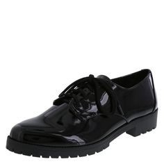 """Get designer style without the designer price! This Christian Siriano oxford features a faux patent upper, laces for good fit, jersey lining, padded insole, 1"""" stacked heel, and a lugged outsole. Manmade materials."""