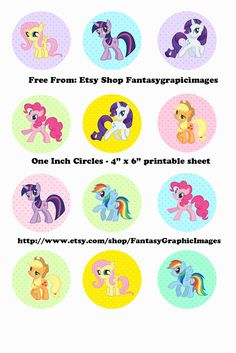 "Free Printable Collage Sheets: Free My Little Pony Bottle Cap - 1"" Circle Collage Sheets From Etsy Shop Fantasygraphicimages"
