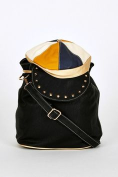 Hat Shaped Flap Leatherette Backpack Bucket Bag In Black – School and College Bags