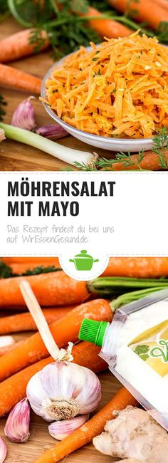 Anzeige    Rezept für einen leckeren Möhrensalat mit Mayo. Carrots, Salads, Foodblogger, Meals, Vegetables, German, Meatless Recipes, Best Healthy Recipes, Fat Burning Foods