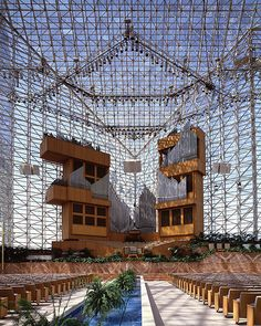 Crystal Cathedral by Philip Johnson from 1981, in Orange County, CA; initially for Reformed Church in American, since 2012 Catholic! •http://en.wikipedia.org/wiki/Crystal_Cathedral