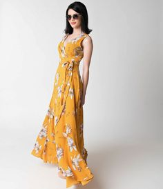 1970s Style Mustard & Floral Sleeveless Crepe Wrap Maxi Dress