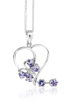 Silver and Tanzanite Pendant With Free Chain and Earrings *Prices Valid Until 25 Dec 2013 Gold Jewelry, Fine Jewelry, Tanzanite Pendant, Purple Reign, Blue Skies, Bracelets, Belly Button Rings, Silver Rings, Bling