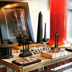 Alexa Hampton rightfully always includes Grand Tour objects in her home design... a sample including an obelisk with hieroglyphics!