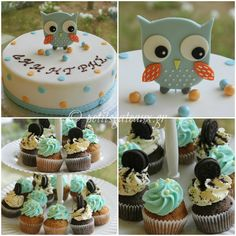 Owl theme baptism!  Mini oreo and carrot cupcakes for the guests of little Dimitris' baptism. The colors and the cake theme matched perfectly with the baptism invitation and the bombonieres!