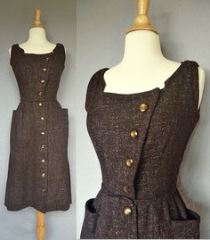 For: Violet (could be layered with a long-sleeved, --cuffed sleeves-- blouse underneath. Great buttons and pockets) 1940s dress / vintage 40s brown wool jumper