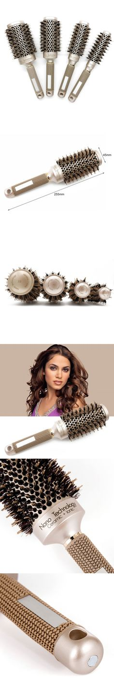 Ceramic Aluminium Hair Comb Round Brush With Nylon & Bristle Hair Professional Hairdressing Brush For Barber Styling Comb Hot