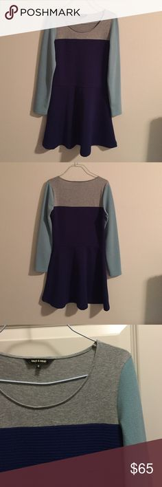 """Tout à coup colorblock skater dress NWOT Tout à coup skater dress in gray, mint, and blue. Material has some stretch to it. 96% polyester, 3% spandex, 1% polyester film fiber. Blue fabric is textured, with beautiful subtle shimmer as shown in last picture. This is a popular Hong Kong brand sold by I.T. Clothing. Measures 15"""" from shoulder to shoulder, 33.6"""" from shoulder to hem, 16.5"""" from armpit to armpit. Brand new. tout à coup Dresses Long Sleeve"""