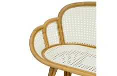 Graceful and light, this bench shows off a beautifully curved silhouette and natural rattan frame with a white synthetic cane weave. Suitable for indoor and outdoor use. Office Accessories, Rattan, Tulips, Teak, Bamboo, Upholstery, Bench, Indoor, Chair