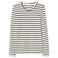 Women's long-sleeved striped T-shirt ($150) ❤ liked on Polyvore featuring tops, t-shirts, white long sleeve tee, white striped t shirt, white long sleeve t shirt, stripe tee and white t shirt