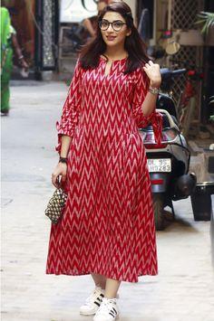 Best 12 Gulaal Women's Red Ikat Pleats Dress – SkillOfKing. Kalamkari Dresses, Ikkat Dresses, Churidar Designs, Kurta Designs Women, Indian Designer Outfits, Designer Dresses, Jaipur, Simple Kurti Designs, Frock For Women