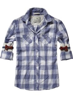 Checkered shirt with bow sleeve ~ paired with cut off cowgirl boots and frosty mug of cream soda, that would do it for me