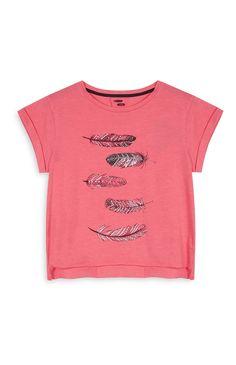 Primark - Camiseta corta rosa con plumas 4e