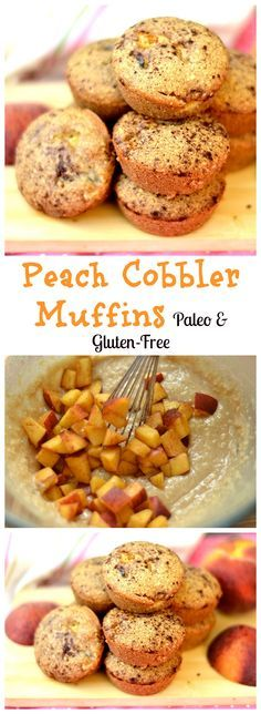 Cobbler Muffins- Paleo and Gluten-Free Delicious breakfast muffins with peaches and cinnamon. No refined sugar, grain-free, Paleo, and GF.Paleo-Balkans Paleo-Balkans refers to: Paleo Dessert, Dessert Sans Gluten, Paleo Sweets, Gluten Free Desserts, Dessert Recipes, Peach Muffins, Breakfast Muffins, Paleo Breakfast, Breakfast Recipes