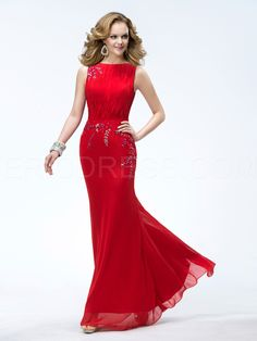 3f880f3fb Elegant Sheath/column Floor-length Bateau Neck Sleeveless Beading Prom  Dress Prom Dresses 2014 · Evening ...