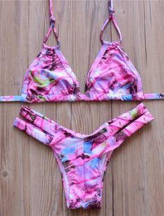 Red Triangle Brazilian Bikini Swimwear Swimsuit #bikini #swimsuits #swimwear