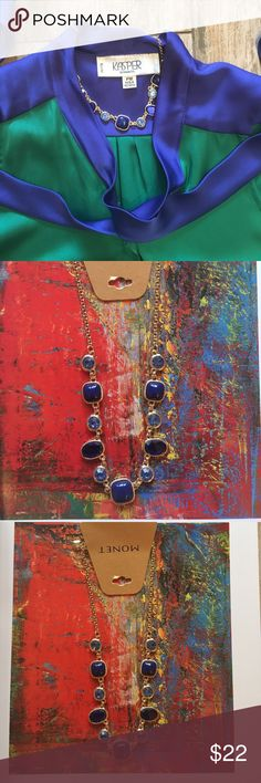 Monet gold and blue necklace Beautiful necklace. Accentuates the right outfit perfectly. Blue stones and beads set in gold. See pairing idea. Purchase it before I wear it! :-) Monet Jewelry Necklaces