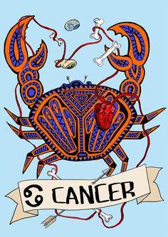 FRIDA KAHLO, cancer Limited edition zodiac sign, Original Illustration, Fine Art Print, crab cancer by CorazonBeats on Etsy https://www.etsy.com/listing/228637870/frida-kahlo-cancer-limited-edition