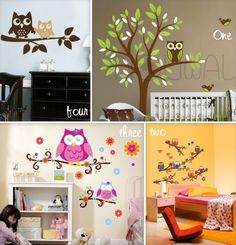 Kid's room decals retro owls! Owl Themed Nursery, Owl Nursery, Nursery Ideas, Bedroom Ideas, Girl Room, Girls Bedroom, Baby Room, Cool Rooms, Kid Rooms