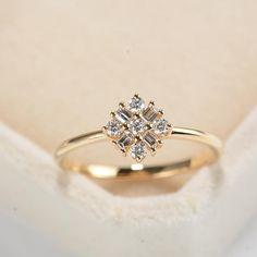 Flower Engagement Ring Natural Diamond Cluster Ring Snowflake Dainty Baguette ring 14K Rose Gold ring Unique Delicate Promise Real Diamonds