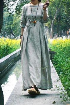 Linen Extravagant Dress with Drawstring High Waist Unique Maxi Dress Oversize…
