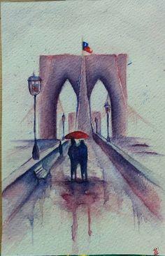 Puente día lluvioso - (Acuarela)