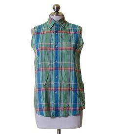 Ralph Lauren Polo Sport Green Blue Pink Plaid Sleeveless Button Shirt Size 4 #RalphLauren #ButtonDownShirt #Casual