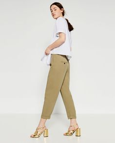 Image 3 of CROPPED TROUSERS WITH FRONT PLEAT from Zara