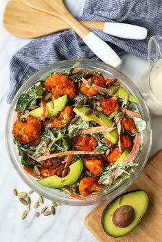 Are you ready for the most legit Vegan Buffalo Cauliflower Salad on the planet? This delicious, plant-based recipe is straight out of the Inspiralized and Beyond Cookbook. It's made with roasted buffalo cauliflower bites and a homemade vegan ranch dressing. Yes, please.