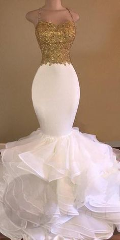 1e1810009 Long Mermaid Spaghetti Straps Sleeveless Applique Organza Prom Evening  Dresses, TYP1126 #prom #promdresses