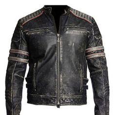 estado del producto nuevo con etiquetas para hombre biker vintage moto chaqueta de cuero real retro negro envejecido v