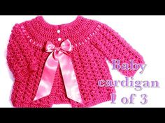 01 Crochet baby cardigan months part 1 Welcome to my channel Crochet for Baby. In todays tutorial I will show you how to crochet this easy to do cardigan or baby jacket for a baby girl from months. Since this is a long tutorial, I decided to Crochet Baby Cardigan Free Pattern, Gilet Crochet, Crochet Baby Sweaters, Baby Sweater Patterns, Crochet Baby Clothes, Newborn Crochet, Crochet Cardigan, Baby Knitting, Crochet Baby Dresses