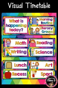 Organise and display your day with this Visual Timetable. This resource includes a title page and subject cards.  Subjects included: Morning Routine, Literacy Groups, Math, Writing, Reading, Science, Lunch, Recess, Art, Sport, Library, R.F.F., Home Time, Scripture, Assembly, Shown n' Tell, Play, Pack Up, Buddies, Handwriting, Language Arts, Writer's Workshop, Social Studies, Health, Religion, Genius Hour, Bible, Daily Five, Singing, Activity Rotations. ©️️ Tales From Miss D