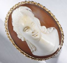 Antique Cameo Ring With HUGE unusual Carving ESTATE one of a KIND ring