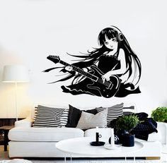 Wall Vinyl Decal Anime Girl Music Guitar Cool Bedroom Decor z3970