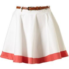 White skirt with a red stripe from Topshop Cute Skirts, A Line Skirts, Women's Skirts, Skirt Belt, Your Style, Topshop, Clothes For Women, Women's Clothes, Fashion Outfits