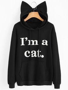 Women Sweatshirt Cat Slogan Print Cat Ear Kawaii Hoodie Sweatshirt 2017 New Black Print Cute Pullovers Long Sleeve Casual Hoodie Sweatshirts, Printed Sweatshirts, Hoodies, Crazy Cat Lady, Sweat Shirt, Pull Chat, Karneval Diy, Kawaii Hoodie, Black Hoodie