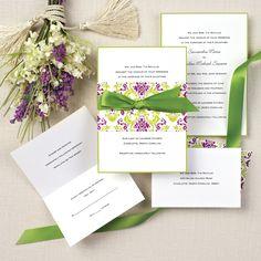 Delightfully Damask Wedding Invitation | #exclusivelyweddings #purplegreenweddinginvitation | #purplewedding