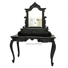 Anais Dressing Table & Mirror- Black www.fabulousandbaroque.com