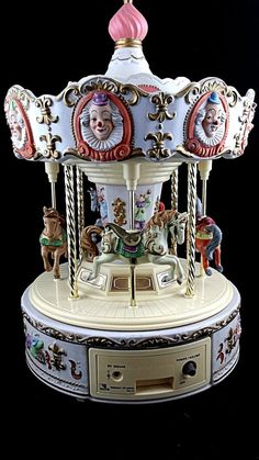 Up for sale is a Carousel Horse Carousel Music Box Porcelain Vintage Carnival Clown 1970s WORKS. This is an amazing estate find. It is made