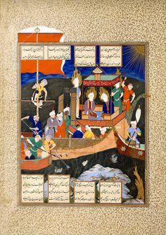 """برگی از شاهنامه شاه طهماسب: مثل فردوسی از کشتی تشیع ، منسوب به میرزا علی، دوره صفوی، در حدود 1530-1535 میلادی. Firdausi's Parable of the Ship of Shi'ism"""", Folio 18v from the Shahnama (Book of Kings) of Shah Tahmasp Abu'l Qasim Firdausi (935–1020) Artist: Painting attributed to Mirza 'Ali (active ca. 1525–75) Object Name: Folio from an illustrated manuscript Date: ca. 1530–35 Geography: Iran, Tabriz Culture: Iran Dimensions: Painting: H.31.7 cm"""