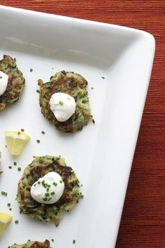 Zucchini Pancakes With Feta, Capers and Mint    www.partiesthatcook.com