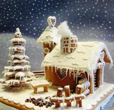 Snowy Gingerbread House. Inspiration photo.