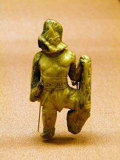 Gladiator figurine of bone or ivory, Roman Britain, British Museum