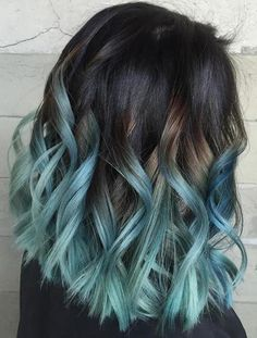 black to ice blue ombre bob hair messy style